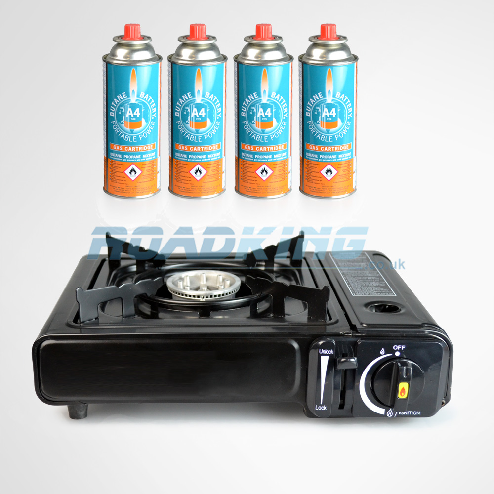 Portable Gas Stove with 4 Cans of Gas