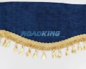 Window Shield with Fringes - Blue and Gold - Velvet - 220 X 20 cm