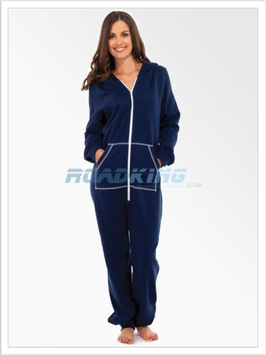 Ladies Plain Hooded Onesie | All In One Blue