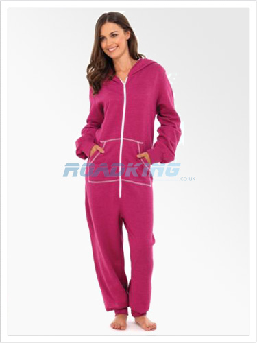 Ladies Plain Hooded Onesie | All In One Pink