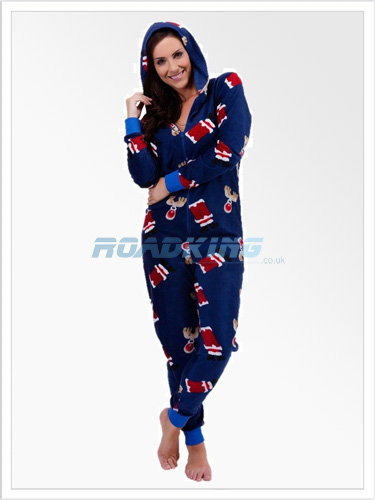 Ladies Christmas Hooded Fleece Onesie | All In One Blue Xmas