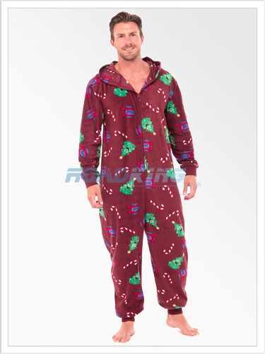 Mens Christmas Print Hooded Fleece Onesie | All In One Xmas Red