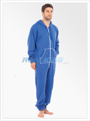 Mens Plain Hooded Onesie | All In One Blue