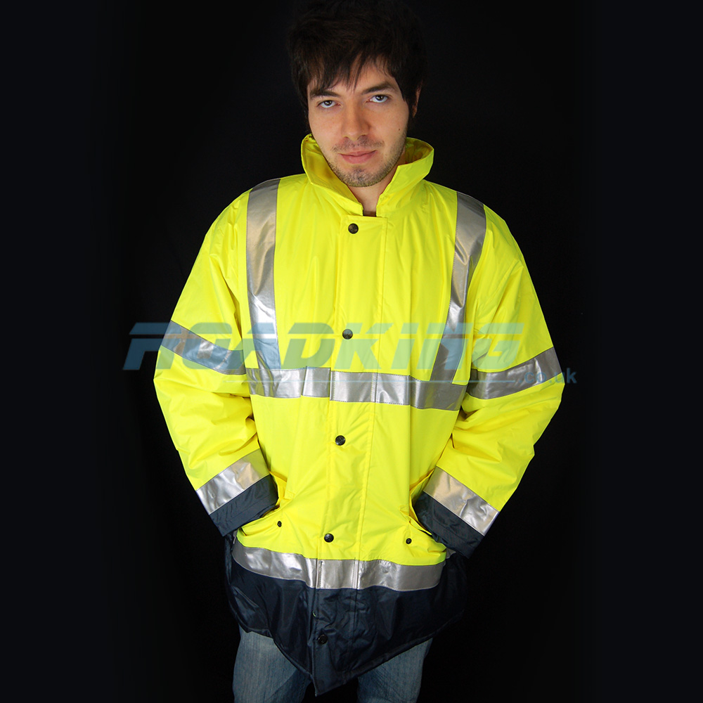 Hi-Viz Parka Jacket | Yellow & Navy - XXL