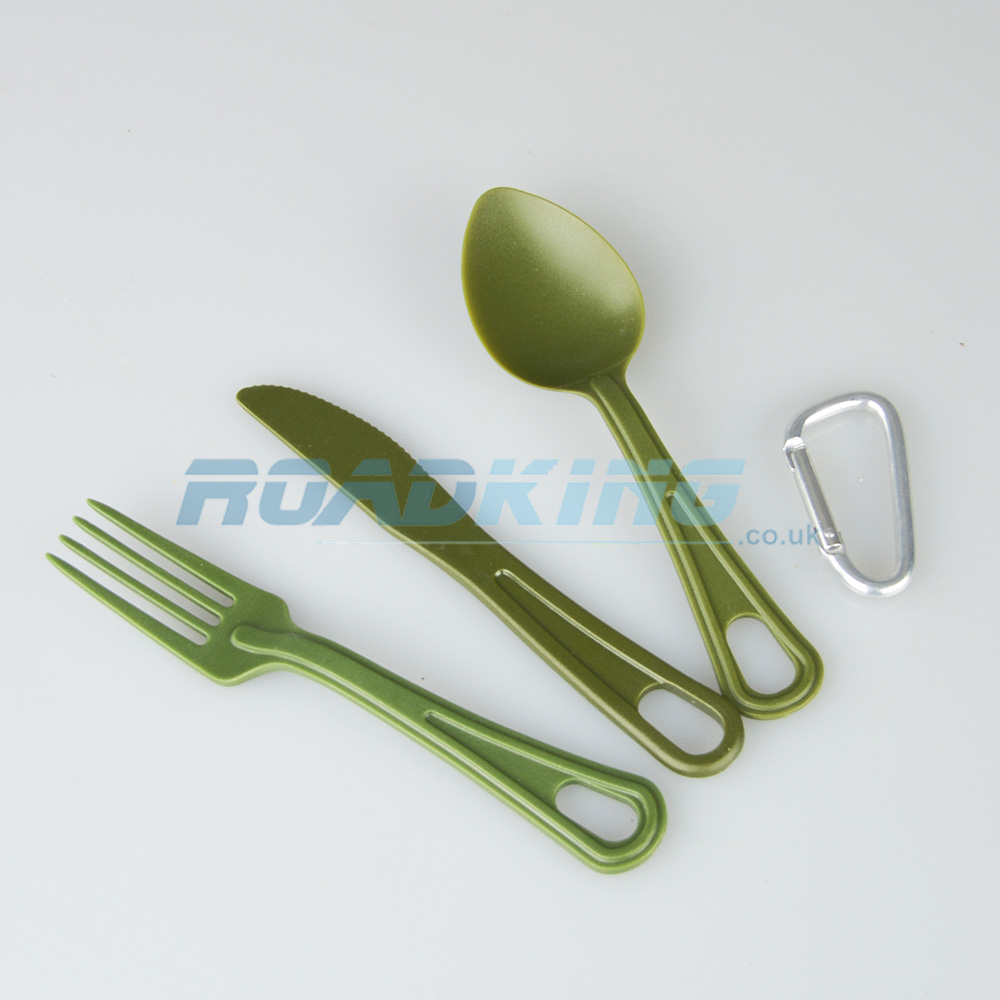 Polycarbonate Camping Cutlery Set | Army Green