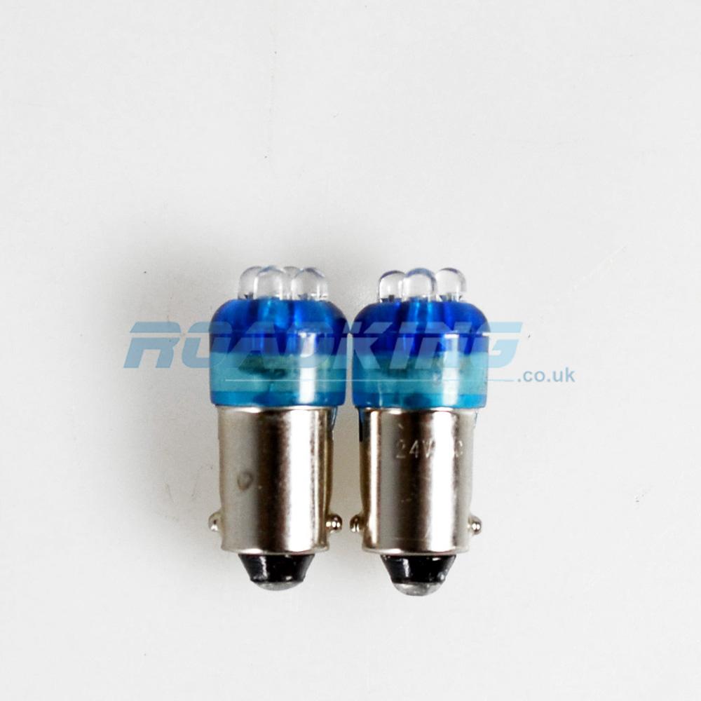 Ba9s 24v Led Bulb 2x 4 Led 24 Volt Bulbs Blue