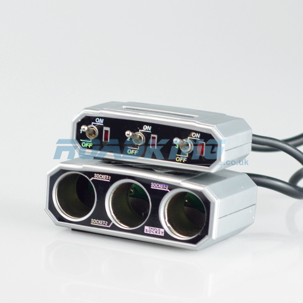3 Way Cigarette Lighter Adaptor / Splitter / Socket with Switches | 12v / 24v
