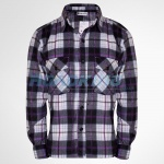 Mens Check Fleece Shirt | Black, White & Purple