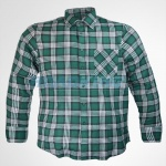 Mens Green & White Checked Flannel Shirt