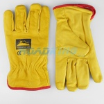 Leather Driving Gloves | Red Trim Felt Lined | Size 10