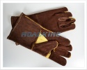Brown Gauntlet Leather Gloves | Lined