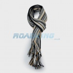 Mens Striped Scarf | Black, White, Grey & Gold