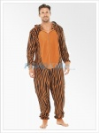 Mens Tiger Animal Print Hooded Fleece Onesie | All In One Orange
