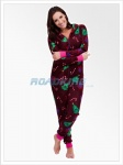 Ladies Christmas Hooded Fleece Onesie | All In One Red Xmas