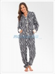 Ladies Animal Print Hooded Fleece Onesie | All In One Zebra