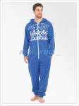 Mens Fairilse Print Hooded Onesie | All In One Blue
