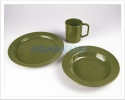 Plastic Camping Dining Pack | Soup Bowl Plate Mug Set | Green