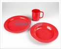 Plastic Camping Dining Pack | Soup Bowl Plate Mug Set | Red