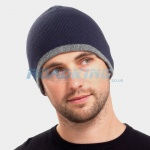 Reversible Beanie Hat - Blue/Grey