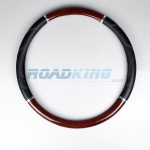 Truck Steering Wheel Cover | Dark Wood & Black | 47-48cm