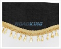 Window Shield with Fringes - Black and Gold - Velvet - 220 X 20 cm