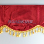 Window Shield with Fringes - Red and Gold - Velvet - 220 X 20 cm